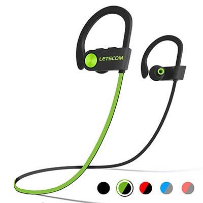LETSCOM IPX7 Waterproof Wireless Sports Earphones Bluetooth Sweatproof Earbuds