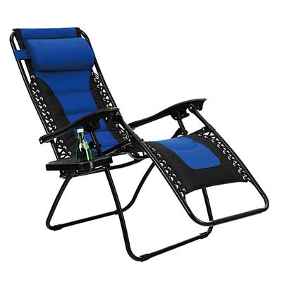 PHI VILLA Padded Zero Gravity Lounge Patio Foldable Adjustable Chair