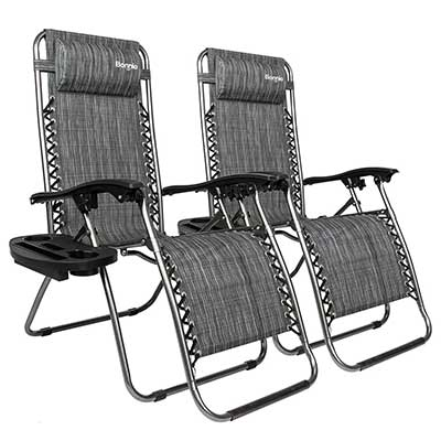 Bonnlo Infinity Zero Gravity Outdoor Lounge Patio Chairs with Trays