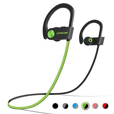 LETSCOM IPX7 Waterproof, Sport Bluetooth 4.1, HiFi Bass Stereo Sweatproof Earbuds