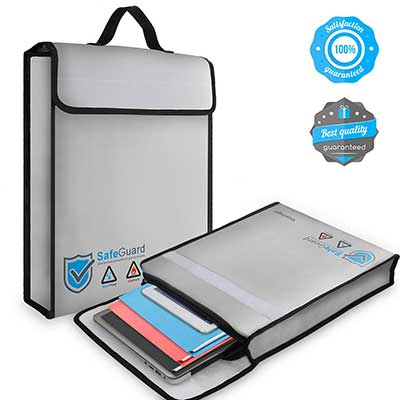 Vemingo Fireproof 2000 ℉ Water Resistant Document Holder Non-Itchy Silicone Coated Bag