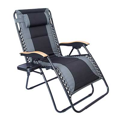 LUCKYBERRY XL Padded Zero Gravity Lounge Chair, Wider Armrest Adjustable Recline
