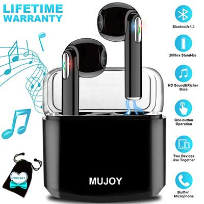 MUJOY Wireless Earbuds with Charging Case and Mic for Running