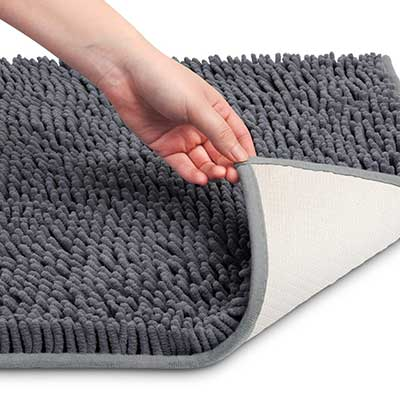 VDOMUS Soft Microfiber Shag Bath Rug Anti-slip, Machine-Washable