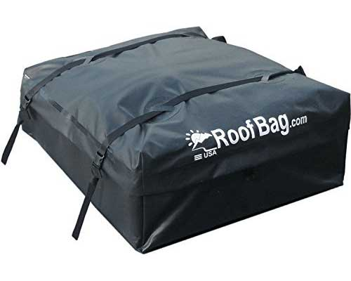 RoofBag Waterproof Rooftop Carrier with Side Rails, Cross Bars or No Rack Rail Cars