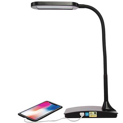 TW Lighting IVY-40BK LED Desk Lamp with USB Port, 3-Way Touch Switch