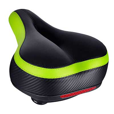 TONBUX Replacement Gel Saddle Tape Dual Shock Absorbing Ball Wide Bike Seat with Taillight Reflective