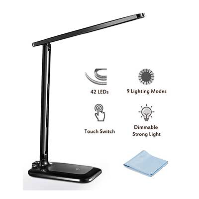 TopElek Eye-caring Folding Desk Light Dimmable Office LED Lamp with 9 Brightness