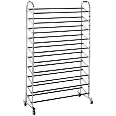 Whitmor 10-Tier Shoe Tower Shoe Rack with Locking Wheels