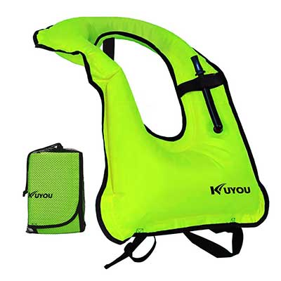KUYOU Inflatable Snorkel Vest Adult Life Jackets