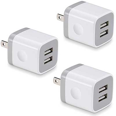 BEST4ONE 2.1A/5V Dual Port USB Plug Power Adapter