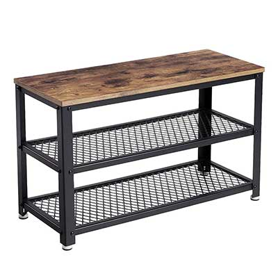 VASAGLE Industrial 3-Tier Shoe Bench Rack
