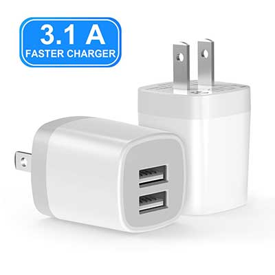 VOGEK 3.1A USB Wall Charger Universal Power Adapter, Dual Ports