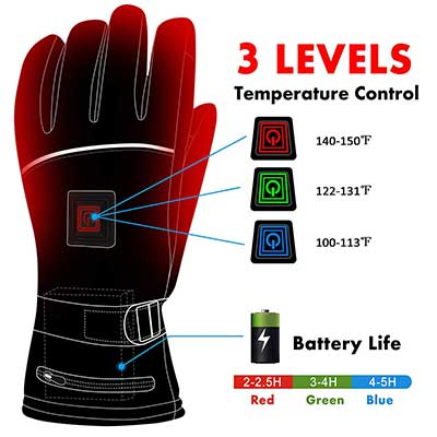 Greensha 3 Levels Temperature Control Thermal Heated Gloves