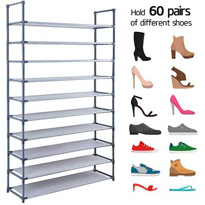 Camabel 60 Pairs Non-Woven Fabric Shoe Storage 10-Tiers Cabinet