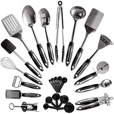 25-Piece Stainless Steel Kitchen Utensil Set
