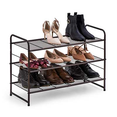 Bextsware Stackable and Adjustable Wire Grid Shoe Organizer