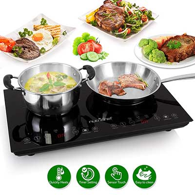 NutriChef Portable Double Induction Electric Stove