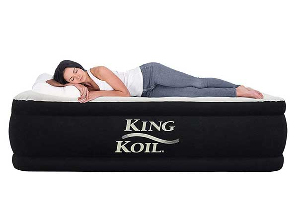 King Koil Double Elevated Twin Air Mattress with Built-in Pump