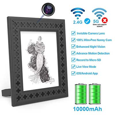 FUVISION Wi-Fi Photo Frame 1080P Home Security Spy Camera