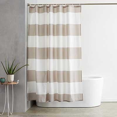 AmazonBasics 72 x 72 Inch Shower Curtain with Hooks