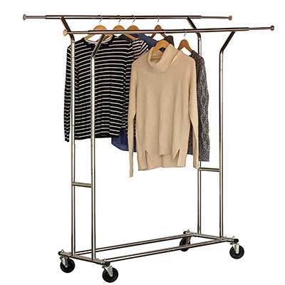 DecoBros Commercial Grade Double Rail Garment Rolling Rack