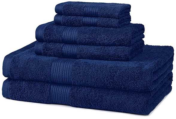 AmazonBasics 6-Piece Fade-Resistant Bath Towel