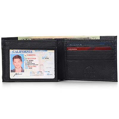 Alpine Swiss Men's Leather Flipout Bifold Trifold Hybrid Wallet