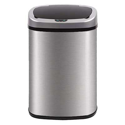 BestOffice High-Capacity Stainless Steel Garbage Can