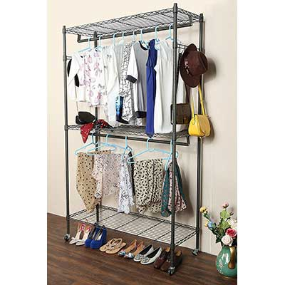 Homdox 3 Shelves Rolling Rack Commercial Grade Garment Rack