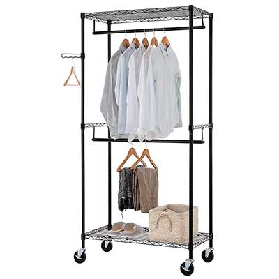 Finnhomy Rolling Garment Rack Clothes Rack