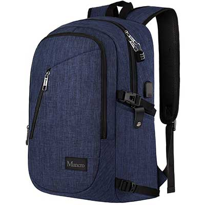 Mancro Anti-Theft Water Resistant College Computer Backpack