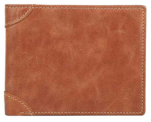 GDTK Cowhide Leather Vintage Trifold Men Wallet