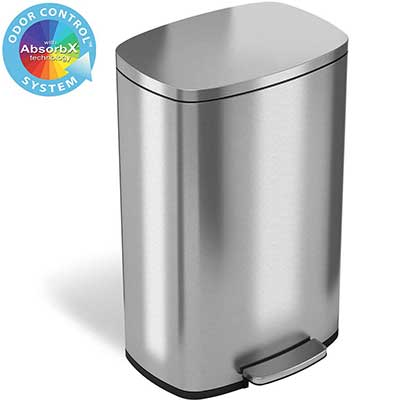iTouchless SoftStep 50L Stainless Steel Step Trash Can