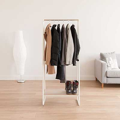 IRIS Metal Garment Rack with Wooden Shelf