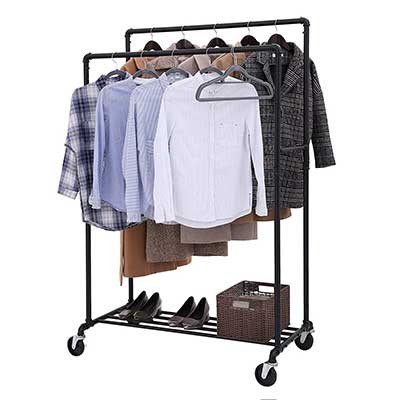 SONGMICS Double Rail on Wheels Industrial Pipe Clothes Rack