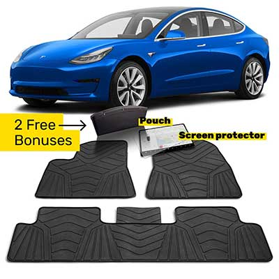 Maxats Tesla Model 3 Rubber Floor Mats with Screen Protector