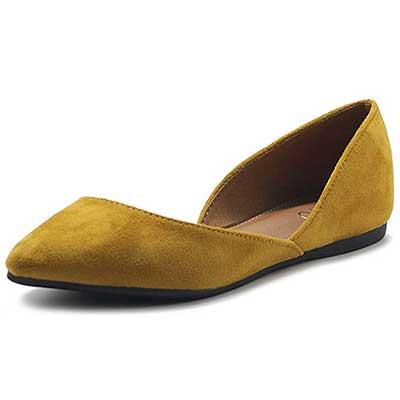 Ollio Women's Shoes Faux Suede Slip On Comfort Ballet Flat