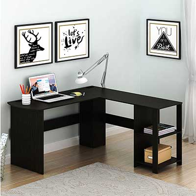 SHW L-Shaped Home Office Wood Corner Desk