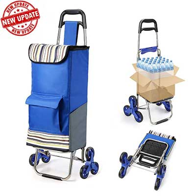 Folding Shopping Cart Extended Handle and Stair Climbing