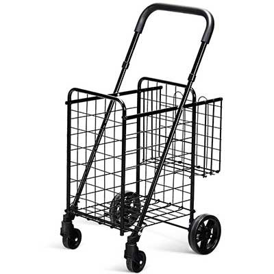 Goplus Folding Shopping Cart Double Basket