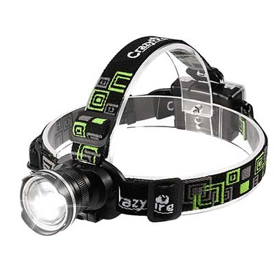 CrazyFire LED Super Bright 3 Modes Zoomable Headlight