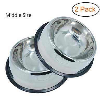 WHIPPY Stainless Steel Dog Bowl Pets Set of 2