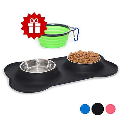 KEKS Small Pets Set of 2 Stainless Steel Bowls