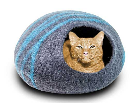 MEOWFIA Premium Merino Wool Cat Bed Cave