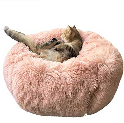 BinetGo Cushion Bed Faux Fur Donut Cuddler for Pets