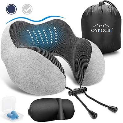 OYRGCIK Travel Pillow, 100% Pure Memory Foam Neck Pillow