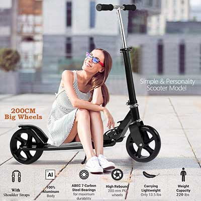 OppsDecor Adult Scooter with 3 Seconds Easy-Folding