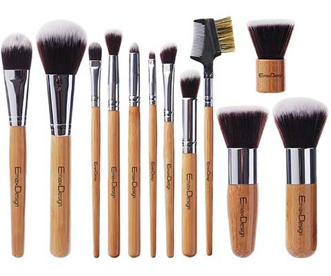 EmaxDesign 12 Pieces Bamboo Handle Synthetic Brushes