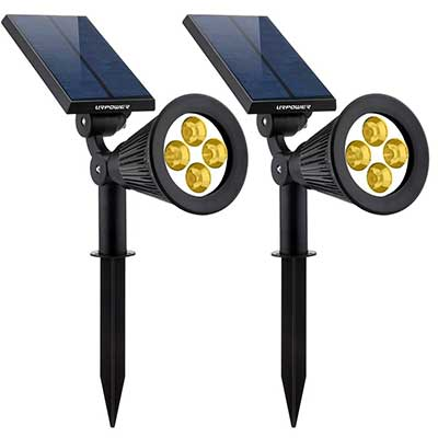 URPOWER Solar Lights 2-in-1 Solar Powered 4 LED Adjustable Spotlight
